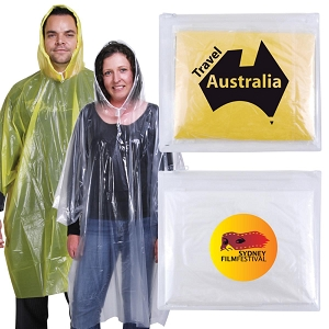 Reusable Poncho in Zipper Pouch - Includes a 1 colour printed logo