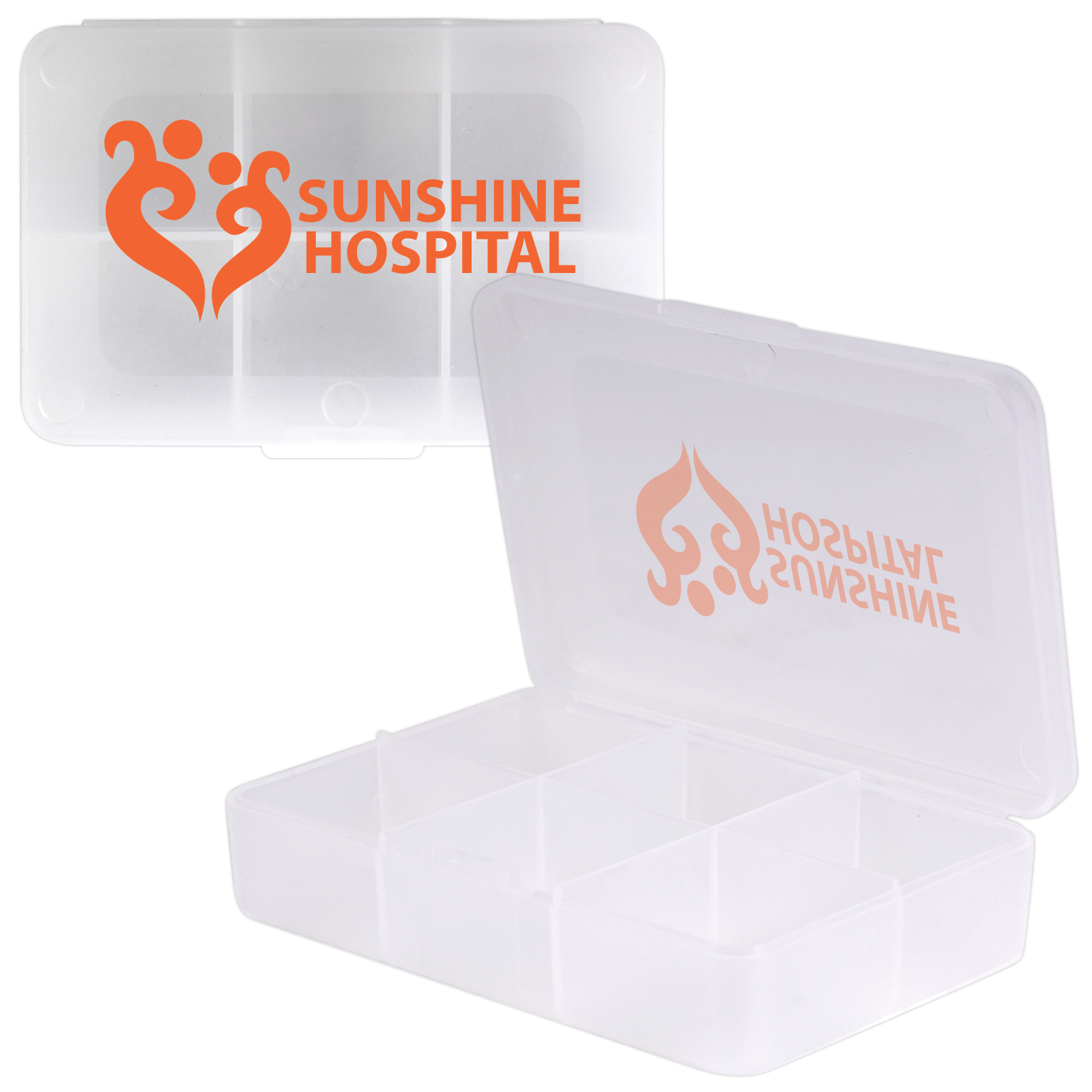 Clear Rectangular 6 Compartment Pill Box - Includes a 1 colour printed logo