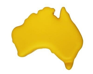 Australia Map Yellow - Includes a 1 colour printed logo