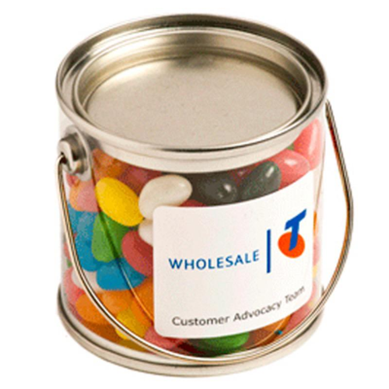 Small PVC Bucket Filled with Jelly Beans 180G (Corp Coloured or Mixed Coloured Jelly Beans) - Includes Colour Sticker on bucket, From $4.14