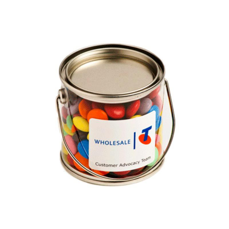 Small PVC Bucket Filled with Choc Beans 170G (Corporate Colours) - Includes Colour Sticker on bucket, From $5.64