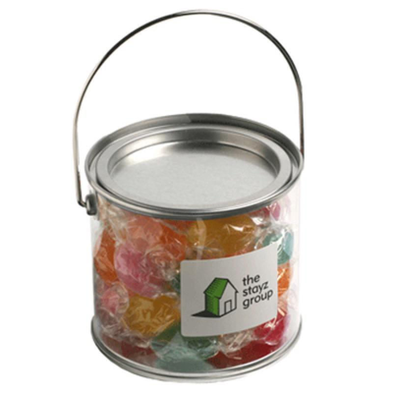 Medium PVC Bucket Filled with Twist Wrapped Boiled Lollies 300G - Includes Colour Sticker on bucket, From $5.25