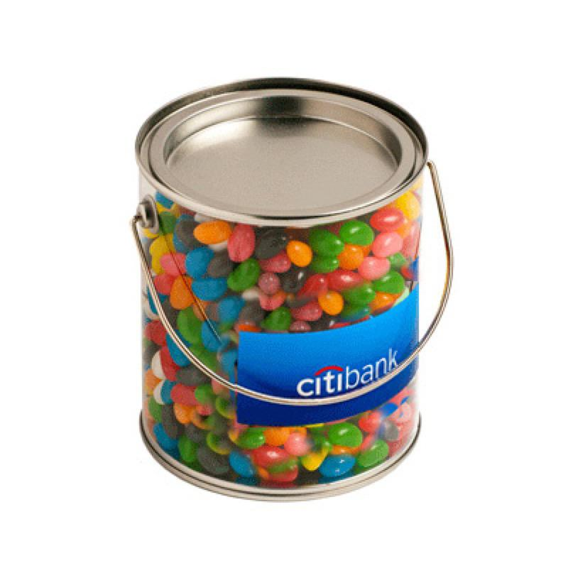 Big PVC Bucket Filled with Jelly Beans 900G (Corp Coloured or Mixed Coloured Jelly Beans) - Includes Colour Sticker on bucket, From $10.4