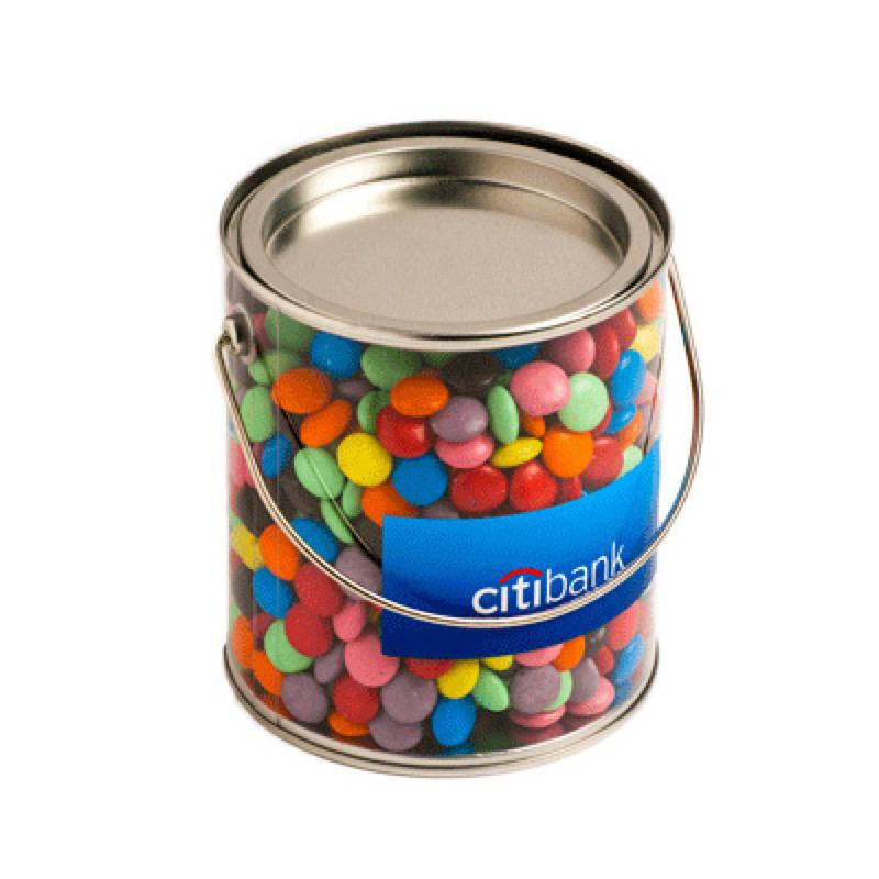 Big PVC Bucket Filled with Choc Beans 875G (Corporate Colours) - Includes Colour Sticker on bucket, From $17.2