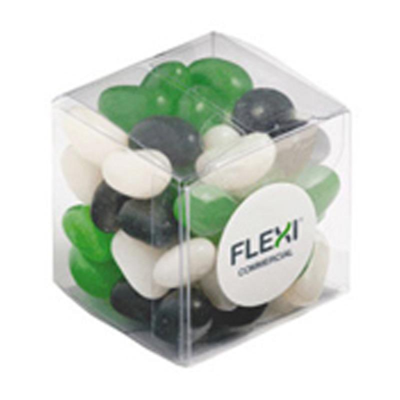 Jelly Beans in Cube 60G (Corp Coloured or Mixed Coloured Jelly Beans) - Includes Colour Sticker, From $1.93