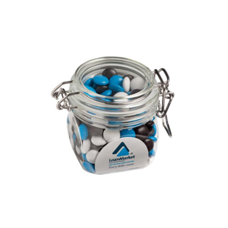 Choc Beans (Smartie Look Alike) in Canister 200G (Corporate Colours) - Includes Colour Sticker, From $6.87