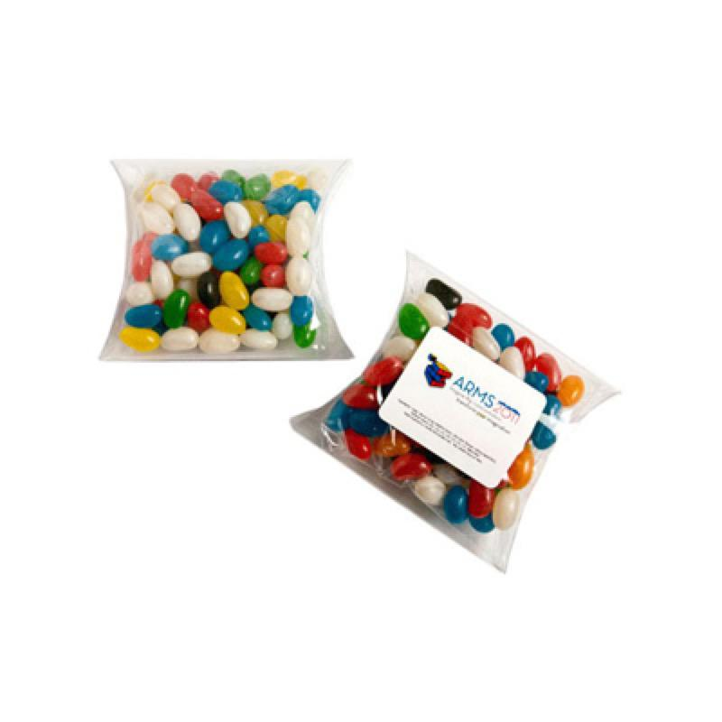 Jelly Beans in Pillow Pack 100G (Mixed Colours or Corporate Colours) - Includes Colour Sticker, From $1.88