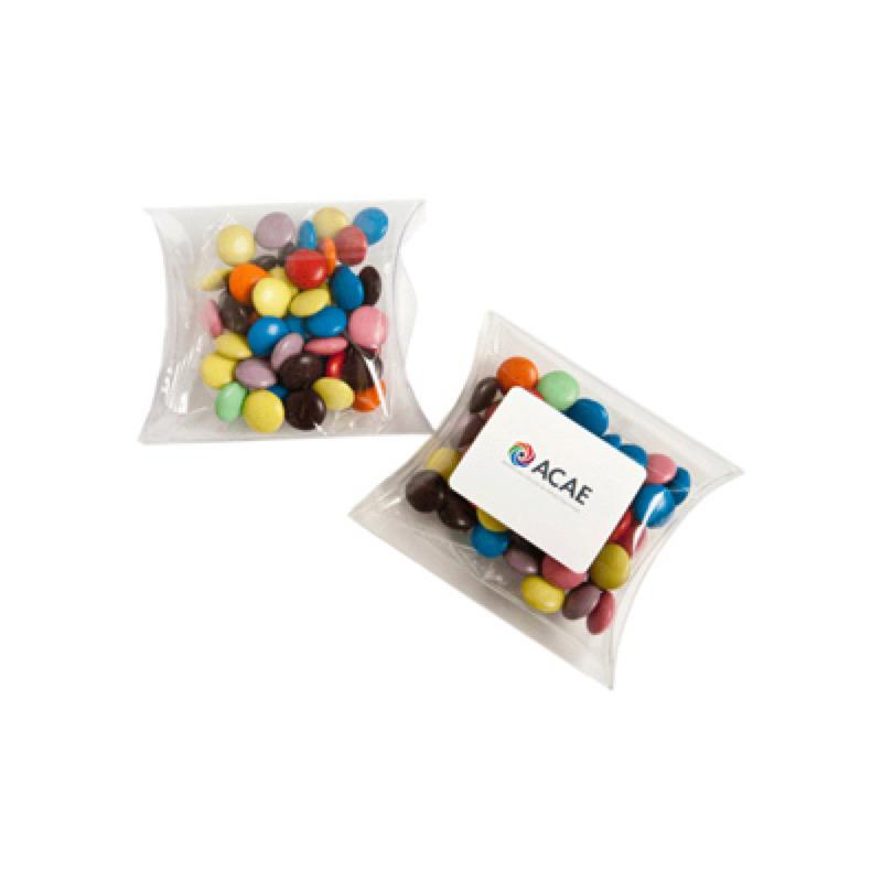 Choc Beans in PVC Pillow Pack 50G (Corporate Colours) - Includes Colour Sticker  on Pillow Pack, From $2.01