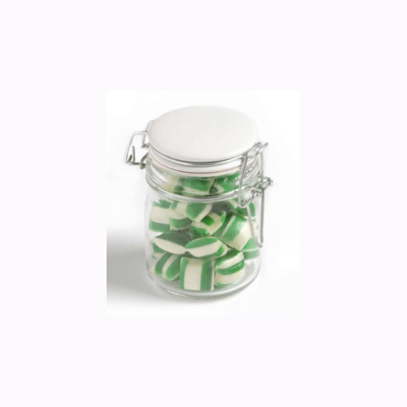 Corporate Coloured Humbugs in Glass Clip Lock Jar 160G - Includes Colour Sticker, From $4.23