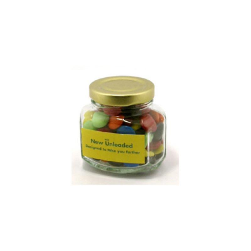 Choc Beans in Glass Squexagonal Jar 90G (Corporate Colours) - Includes Colour Sticker, From $3.47