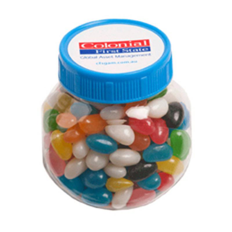 Plastic Jar Filled with Jelly Beans 170G (Corp Coloured or Mixed Coloured Jelly Beans) - Includes Colour Sticker, From $2.86