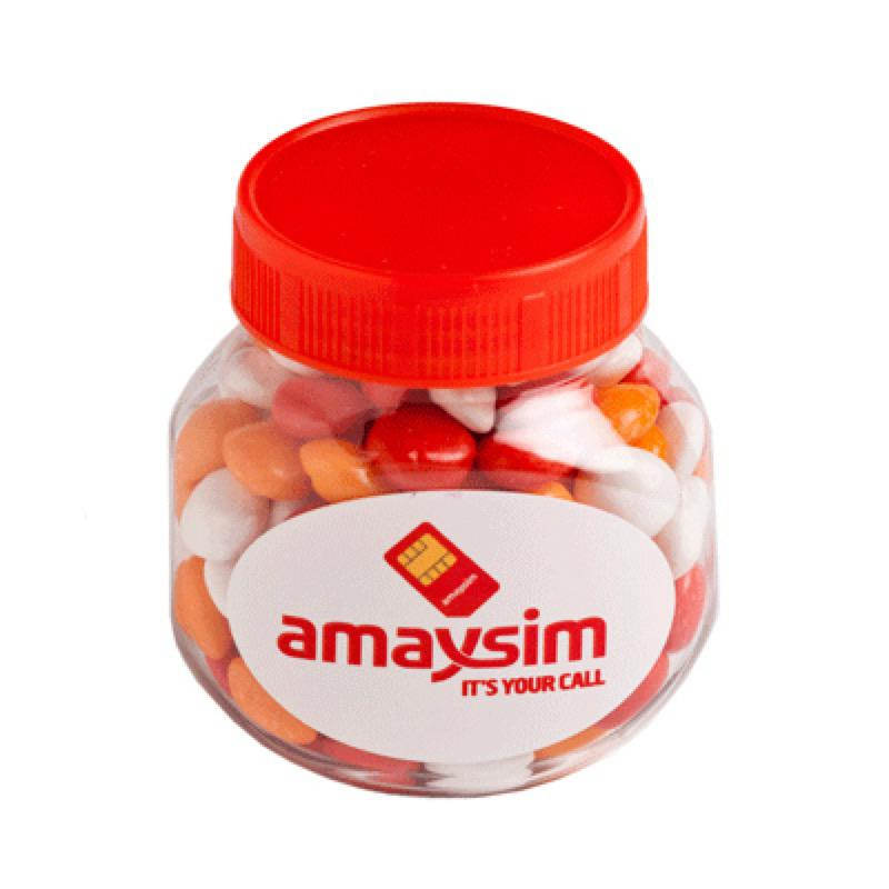 Plastic Jar Filled with Chewy Fruits (Skittle Look Alike) 170G - Includes Colour Sticker, From $3.22