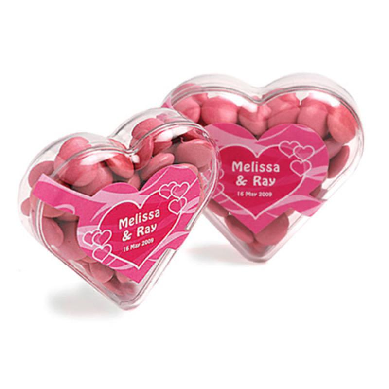 Acrylic Heart Filled with Choc Beans 50G (Corporate Colours) - Includes Colour Sticker, From $2.71
