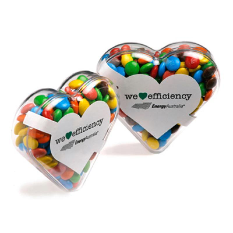 Acrylic Heart Filled with Mini M&Ms 50G - Includes 1 Colour Pad Print, From $3.34