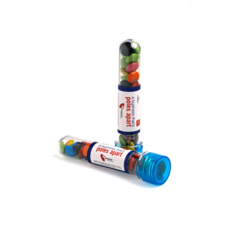 Test Tube Filled with Choc Beans 40G (Corporate Colours) - Includes Colour Sticker, From $2.18