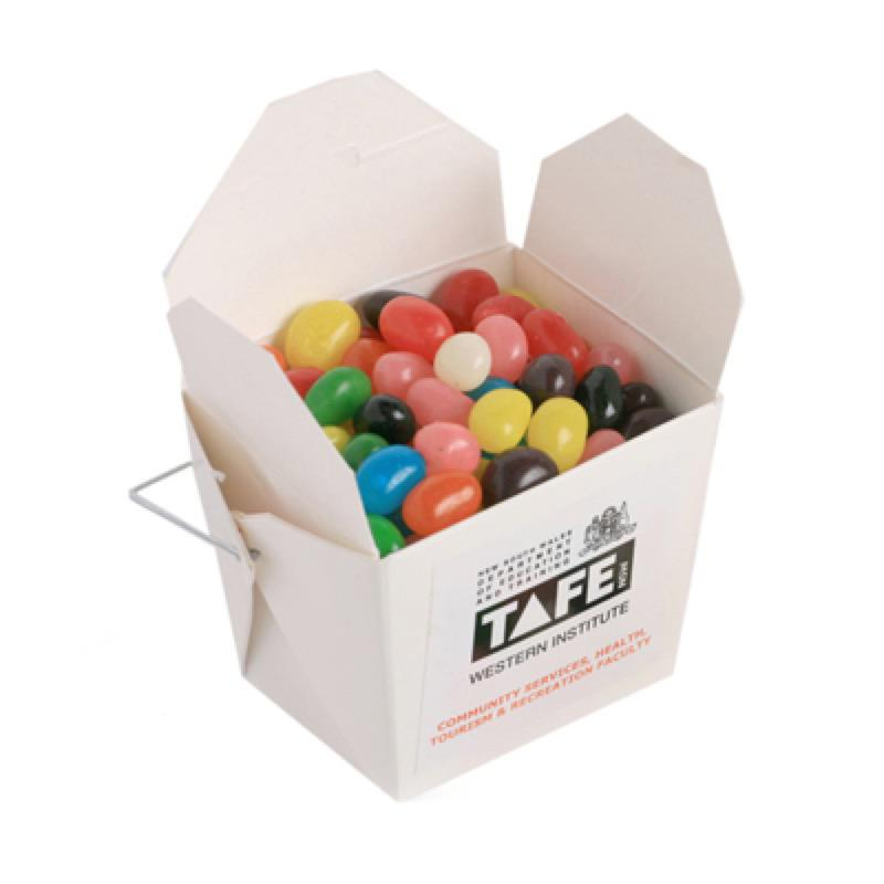 White Cardboard Noodle Box with Jelly Beans 100G (Mixed Colours or Corporate Colours) - Includes Colour Sticker, From $2.52