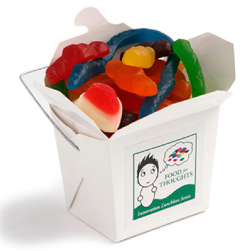 White Cardboard Noodle Box Filled with Mixed Lollies 100G - Includes Colour Sticker, From $2.45