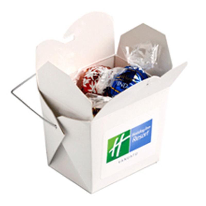 White Cardboard Noodle Box Filled with Lindor Balls X5 - Includes Colour Sticker, From $5.25