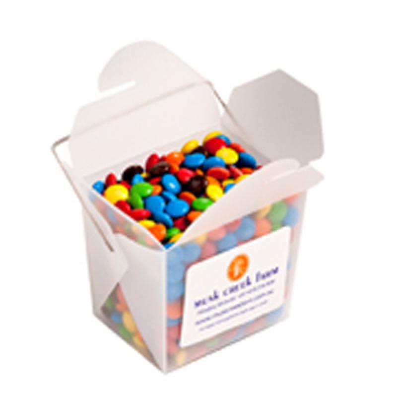 Frosted Pp Noodle Box Filled with M&Ms 100G - Includes Colour Sticker, From $3.82