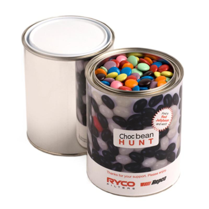 Paint Tin Filled with Choc Beans 1Kg (Corporate Colours) - Includes Printed Wrapper , From $18.9