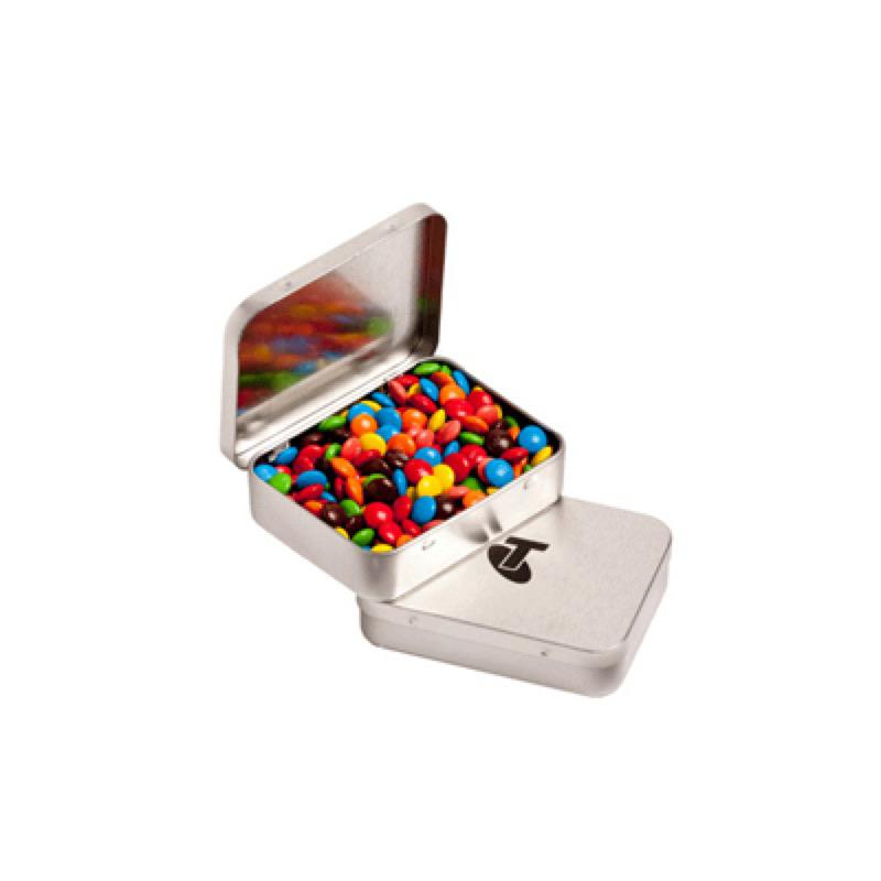 Rectangle Hinge Tin Fillled with M&Ms 65G - Includes 1 Colour Pad Print, From $3.22