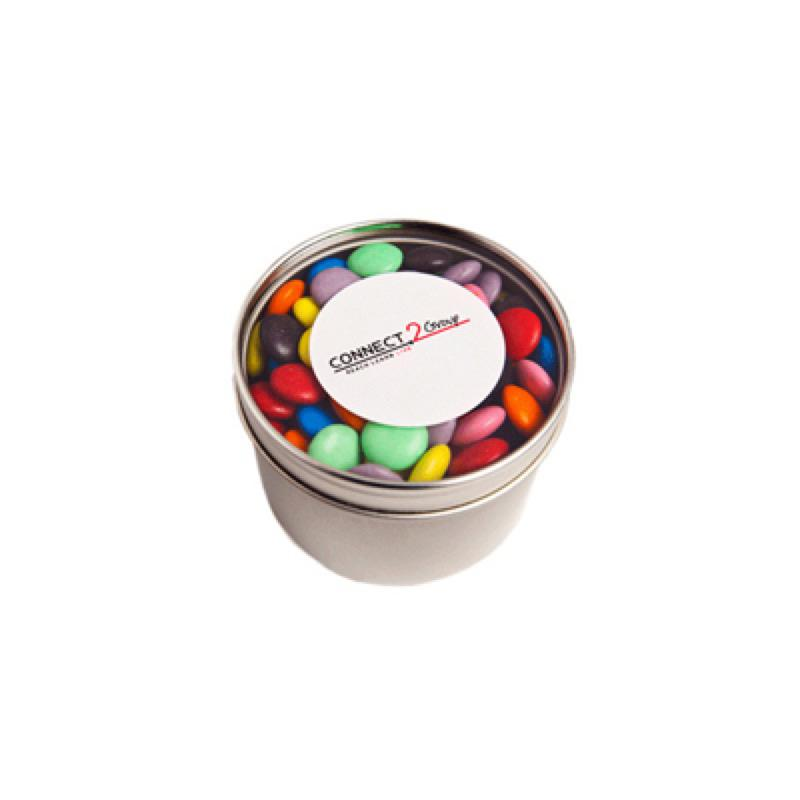 Small Round Acrylic Window Tin Fillled with Choc Beans 150G (Corporate Colours) - Includes  Colour Sticker, From $5.99