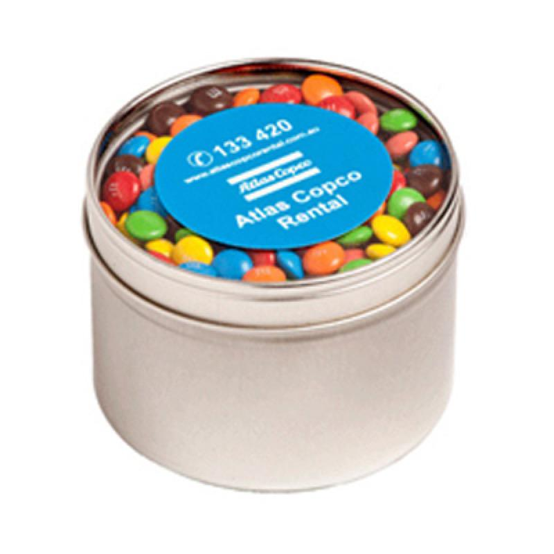 Small Round Acrylic Window Tin Fillled with M&Ms 140G - Includes  Colour Sticker on tin, From $4.27