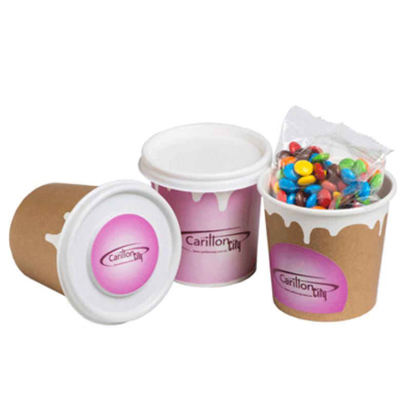 Coffee Cup Filled with M&Ms 50G - Includes Full Colour WRAP AROUND Colour Sticker, From $2.8