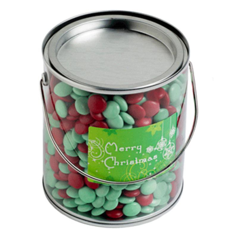 Big PVC Bucket Filled with Christmas Choc Beans 875G - Includes Colour Sticker on bucket