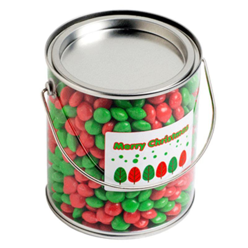 Big PVC Bucket Filled with Christmas Chewy Fruits (Skittle Look Alike) 950G - Includes Colour Sticker on bucket, From $11.2