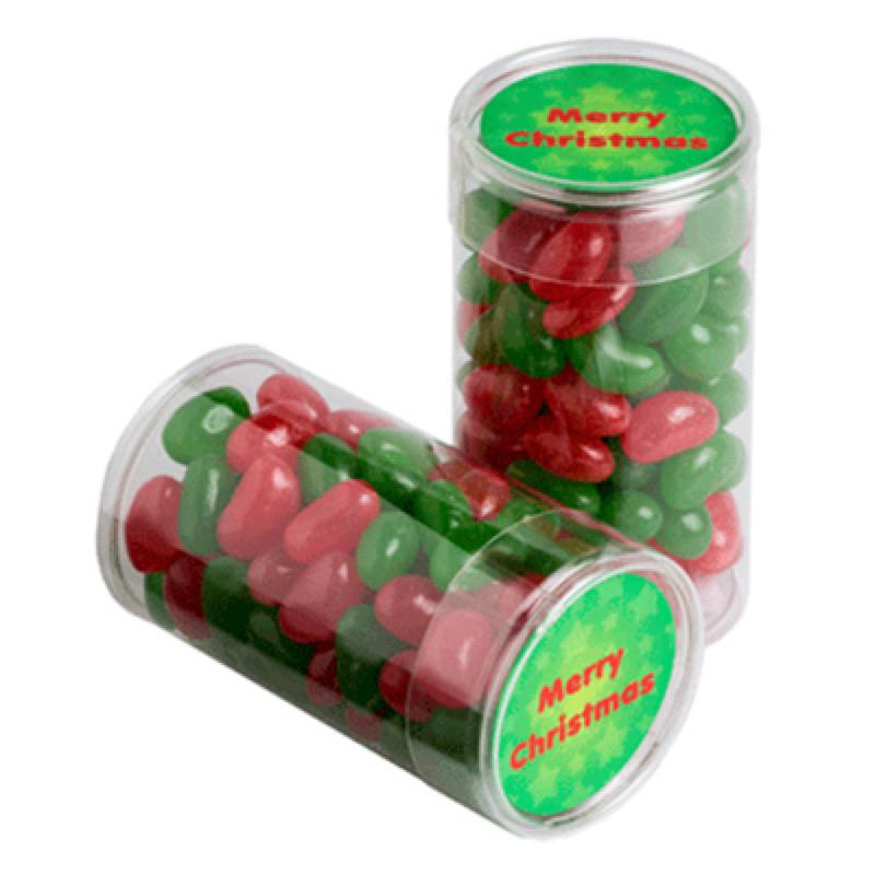 Pet Tube Filled with Christmas Jelly Beans 100G - Includes Colour Sticker, From $2.06