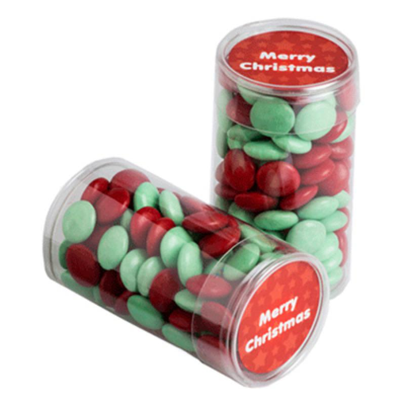 Pet Tube Filled with Christmas Choc Beans 100G - Includes Colour Sticker (Corp Coloured Choc Beans), From $3.08