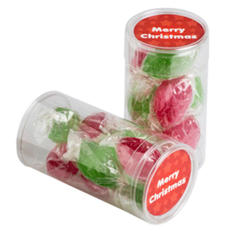 Pet Tube Filled with Christmas Boiled Lollies X8 - Includes Colour Sticker, From $1.82