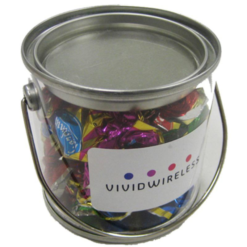 Small PVC Bucket Filled with Christmas Chocolate Eclairs 90G - Includes Colour Sticker, From $3.25