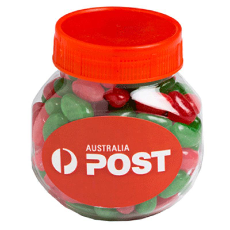 Plastic Jar Filled with Christmas Jelly Beans 170G - Includes Colour Sticker, From $2.86