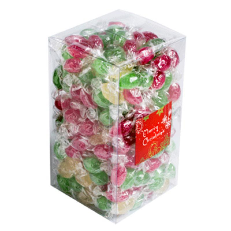 Big PVC Box Filled with Christmas Twist Wrapped Boiled Lollies 2Kg - Includes Colour Sticker on Box, From $18.3