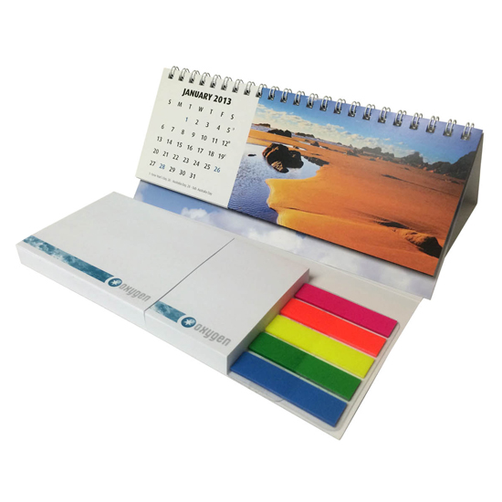 Wiro bound calendar with 100 leaf Stuk note pads and markers, From $6.9