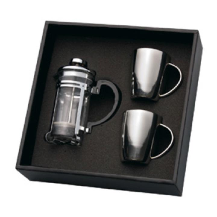Coffee Plunger & 2 Stainless Steel Mugs - Includes a 1 Colour Print, From $33.0