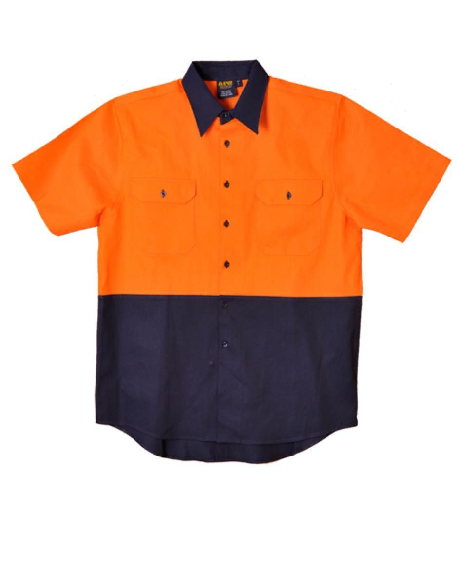 Hi-Vis two tone S/S cotton work shirt, From $20.9