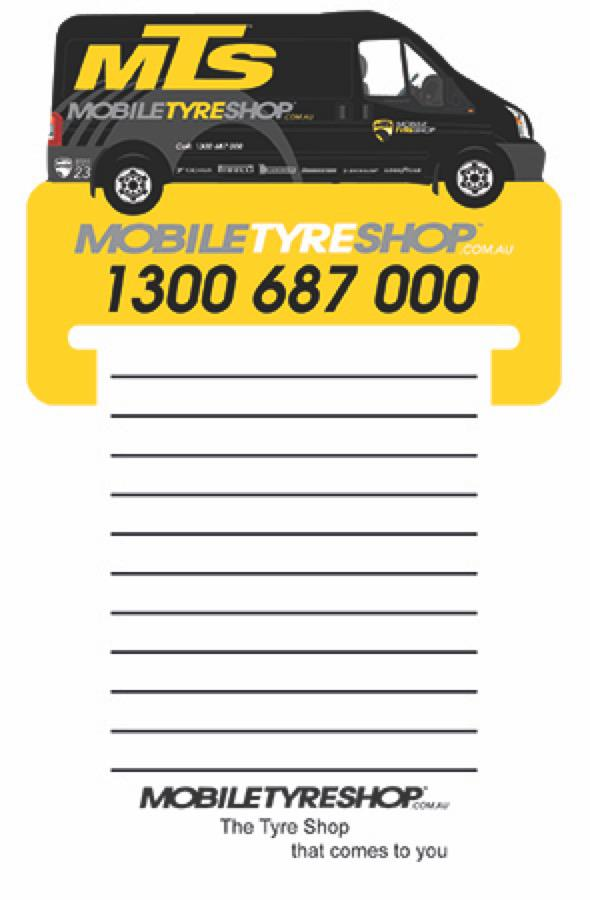 Van Shape Magnet 95 x 70 mm, Notepad (black)70 x 95 mm - Includes a full colour print, From $1.33