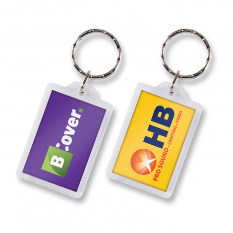 Lens Key Ring - Rectangle  - Full Colour Insert