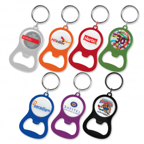 Chevron Bottle Opener Key Ring - Resin Coated Finish