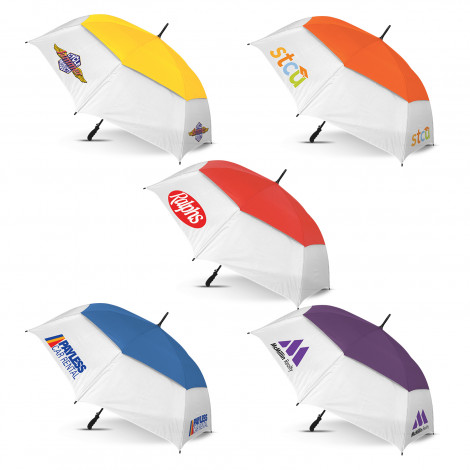 Trident Sports Umbrella - White Panels - Screen Printing Per Panel