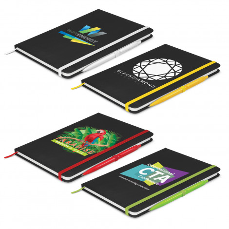 Omega Black Notebook with Pen - Printing Per Col/Pos (Notebook)