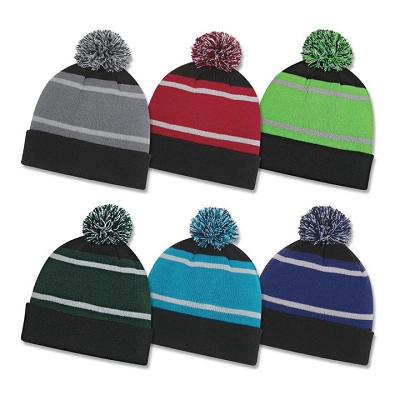 Tri Tone Pom Cuff Beanie - Embroidery (up to 7 thread colours, 7000 stitches).