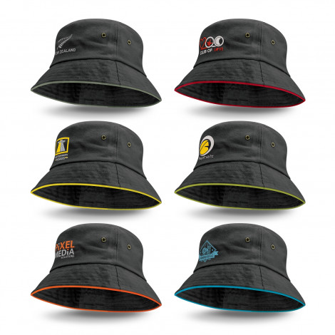 Bondi Bucket Hat - Coloured Sandwich Trim - Printing Per Col/Pos