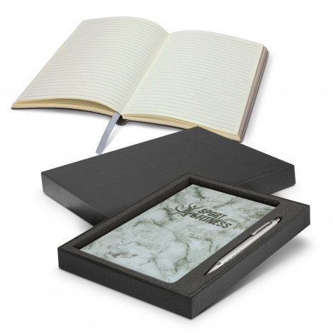 Marble Notebook and Pen Gift Set - Printing Per Col/Pos (Notebook)