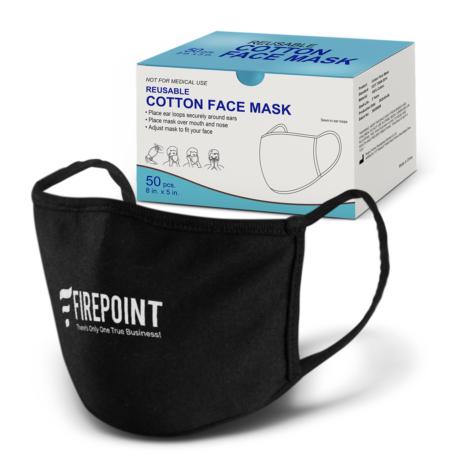 Reusable Cotton Face Mask - One Colour Print