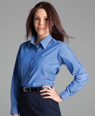 JB'S LADIES Long Sleeve INDIGO CHAMBRAY SHIRT