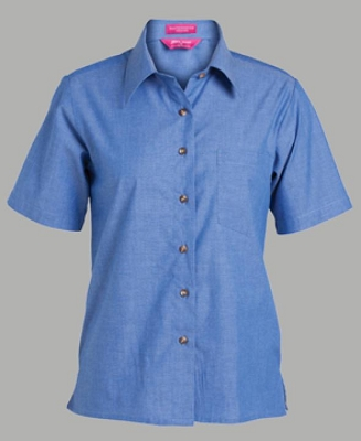 JB'S LADIES Short Sleeve INDIGO CHAMBRAY SHIRT